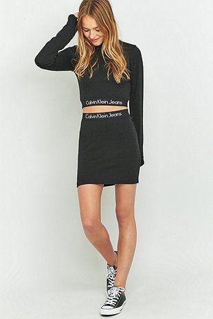 UO Exclusive Calvin Klein Black Tube Mini Skirt