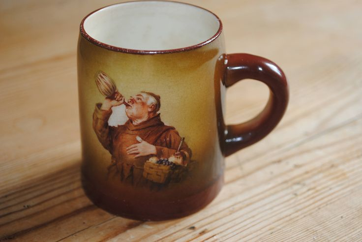 Antique Columbian Trenton Art Pottery Monk Drinking out of Carafe Small Mug Stein 1892 - 1902 Victorian by SJMArtCollectables on Etsy