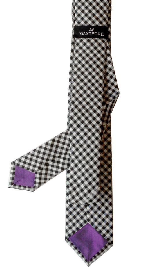 Polyester Gingham with Purple Raw Silk tipping