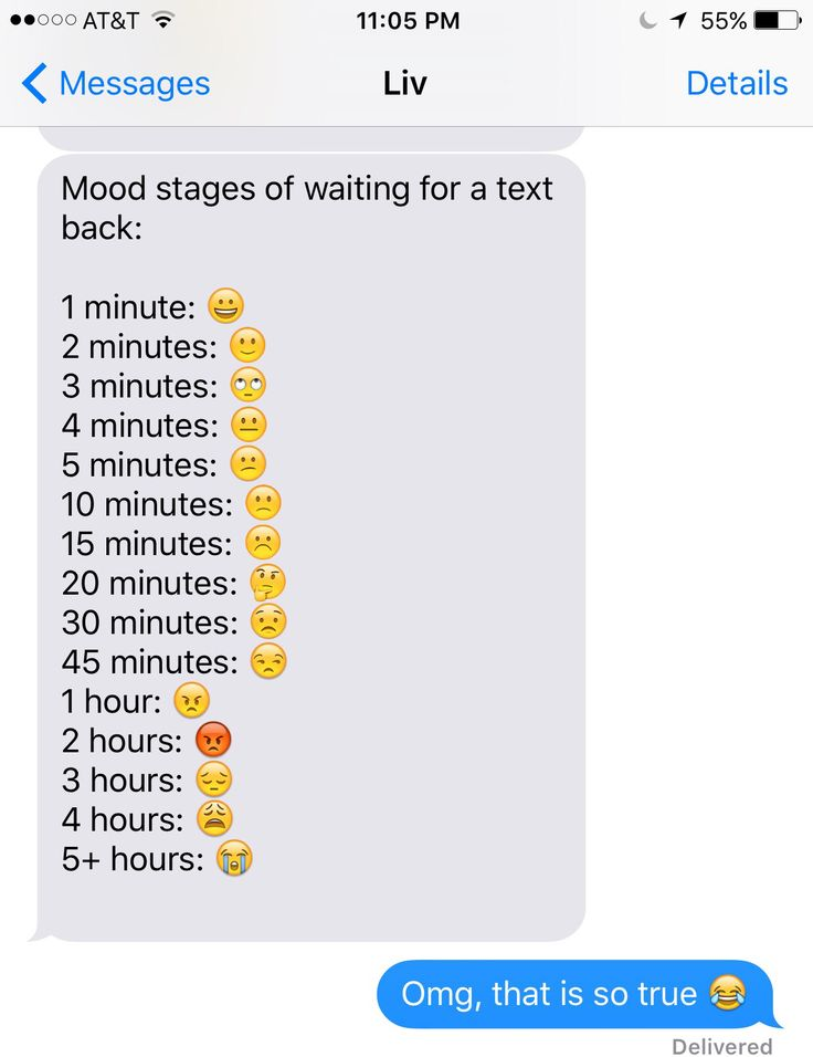 Mood stages of waiting for a text back