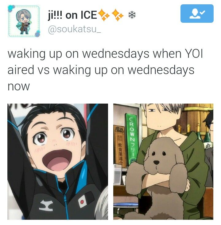 EXCEPT it aired in nz on thursdays <<< Dub is on Tuesdays, and the last two episodes have yet to come out, so it's not over for me yet!