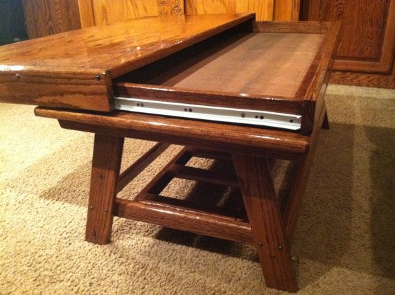 rustic oak coffee table with hidden compartment par terramaeandco rh pinterest com Wooden Coffee Table with Hidden Compartment hidden compartment coffee table for sale