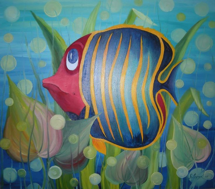 """Fish"" by Olha Darchuk. This original oil painting is full of colour and comes from Olha's collection on FineArtSeen. Click to view more art at great prices from the Home Of Original Art. << Pin For Later >>"
