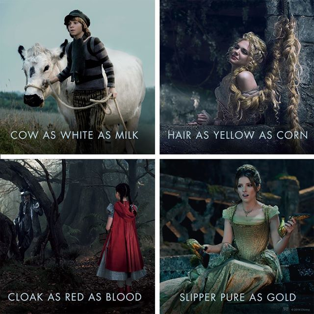 Disney has shared a new social media poster from the highly anticipated big screen adaptation of INTO THE WOODS featuring snapshots from the film capturing the Witch's demands for a cow as white as milk, hair as yellow as corn, cloak as red as blood and a slipper as pure as a gold.