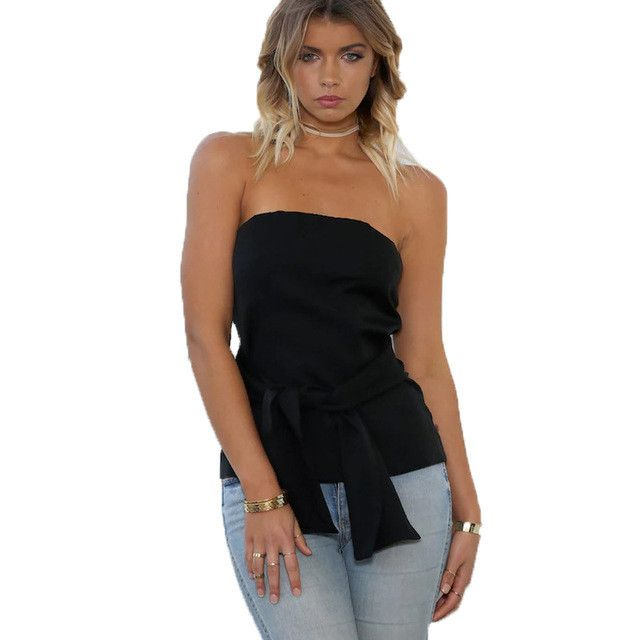 Gorgeous Strapless Blouse with Bow Design and Zipper back. Available in Black or White. Sizes S-XL
