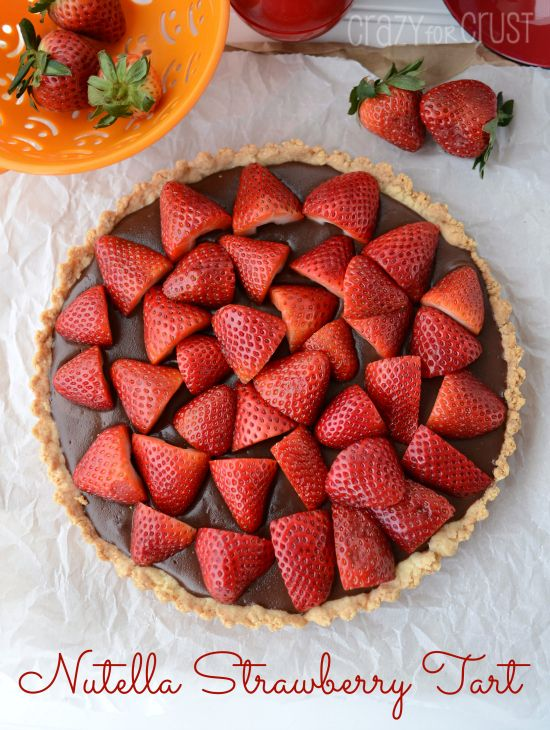 Nutella Strawberry Tart - Nutella Pudding on a shortbread crust topped with gorgeous strawberries!