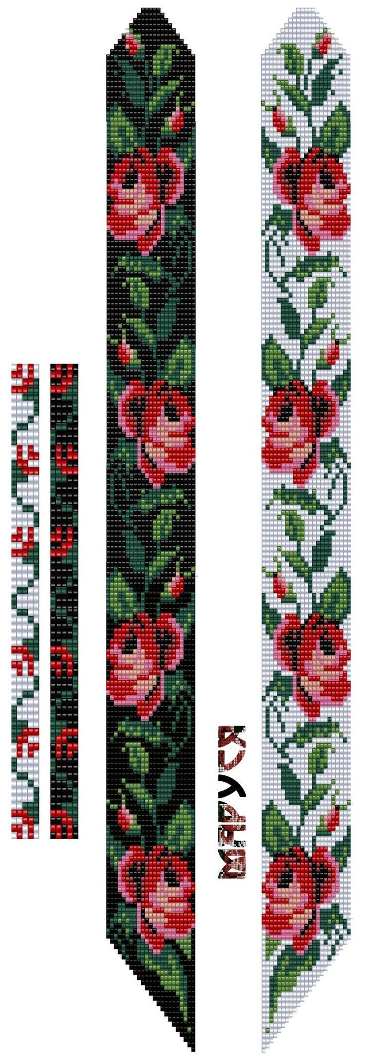 Pulsera con Rosas Telar Chaquira