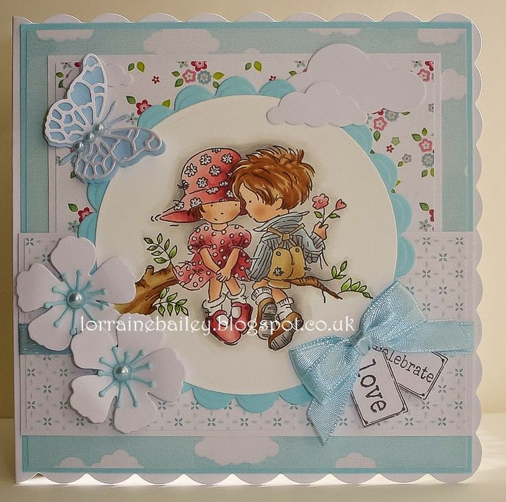 "LOTV - ""In Love"" with Up Up and Away and Pastel Dreams paper and Sentiment Tag by Lorraine Bailey"