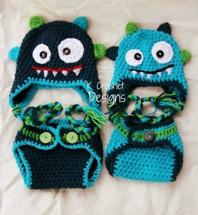 Monster hat-Crochet baby hat-Hat and diaper cover set-Photography prop-boys or girls. $45.00, via Etsy....can do in pink, purple, blue...colors are endless!