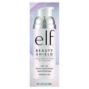 e.l.f.'s SPF 50 Skin Shielding Moisturizer contains powerful antioxidants Carrot Seed Oil, Sunflower Seed Oil, and Vitamin C. Featuring a sheer, universal tint, this moisturizer protects your skin from everyday environmental aggressors. Formulated Without Parabens, Sulfates, Phthalates, or Alcohol.<br><br>how to use: Shake well before use. Apply to face on clean, dry skin. For best results, use after our Beauty Shield™ Vitamin C Pollution Prevention Serum.