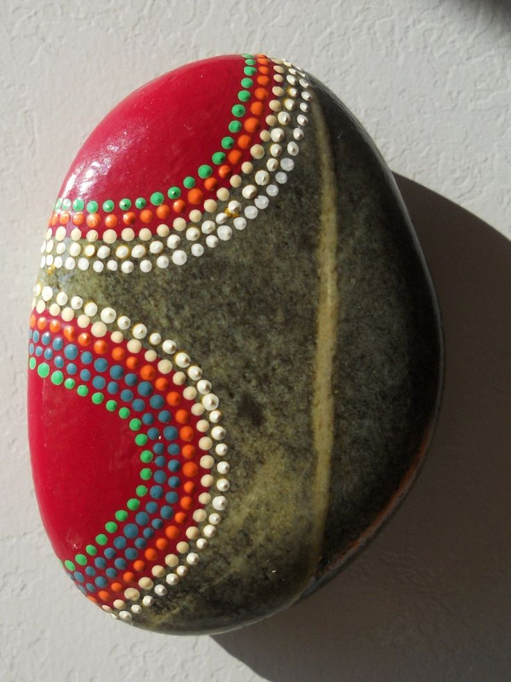 """Galet """"nature et peinture"""" inspiration art aborigène"""