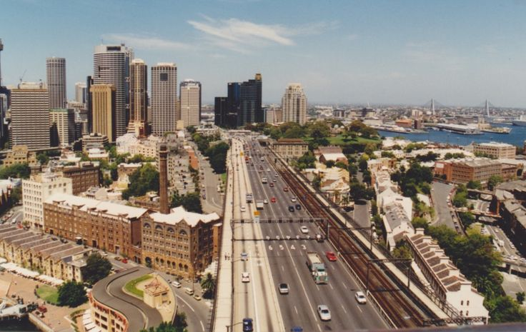 A view of traffic on the Sydney Harbour Bridge heading towards the city from the Pylon Lookout.