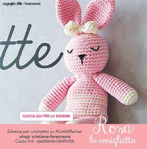 Banner per tutorial coniglio amigurumi a uncinetto - schema in pdf - italiano.