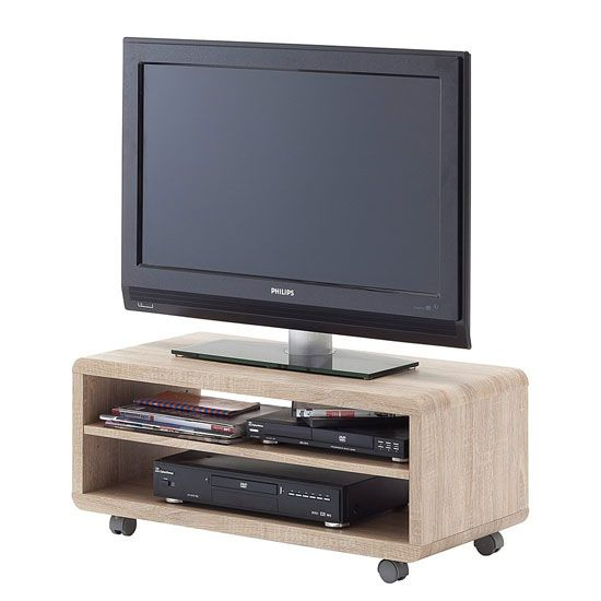 Jeff7 Lowboard LCD TV Stand In Rough Sawn Oak With Wheels