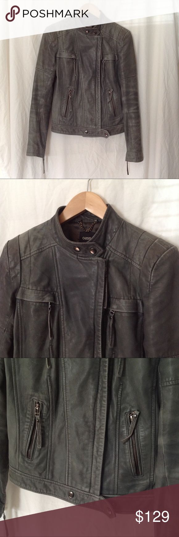Oasis Gray Distressed Leather Jacket Gray distressed moto leather jacket by Oasis. Gently used. Size small. Oasis Jackets & Coats