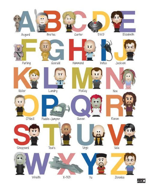 Stargate ABC nursery art, we are huge fans in this house and this is just awesome