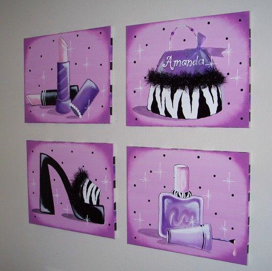 Dark Purple Wall Art | wall art mural on canvases bright flowers wall art  set