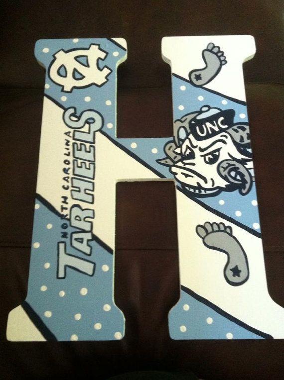 Custom Hand Painted UNC Tar Heels Door by DAMartndesigns on Etsy, $58.00