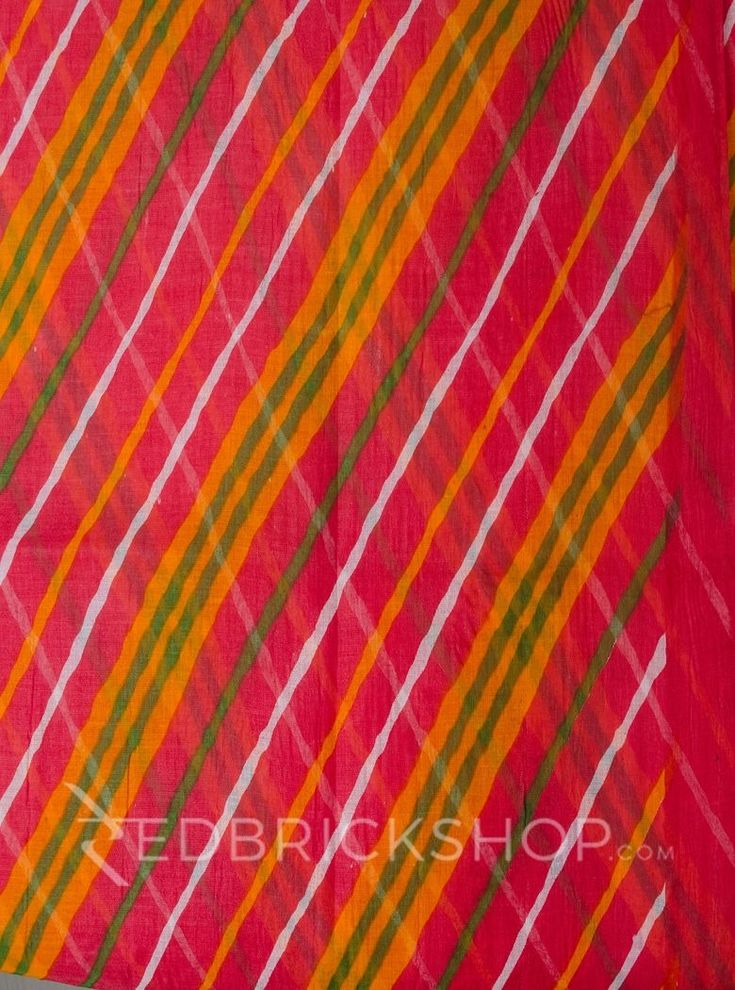 DOUBLE LEHERIYA RED COTTON SAREE Rs 995