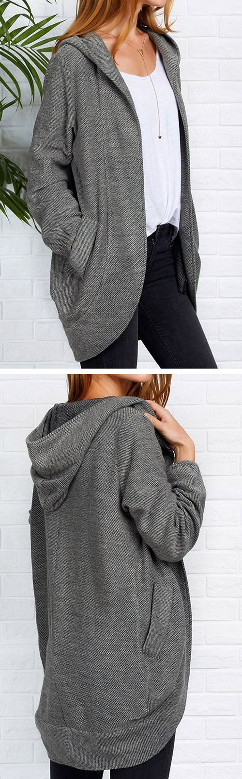 Big Sale-Only $34.99! Start your day off right in Hooded coat. All those hooded design and open front and pocket at sides in perfect harmony.Share more wonderful items at Cupshe.com !