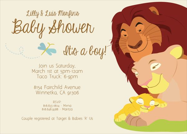 Lion King Baby Shower Invitations Cartoon Pastel Color Theme Cute .