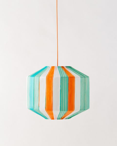 Recycled beach chair hanging lamp