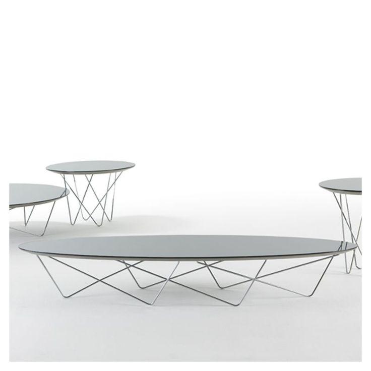 Table basse ovale piètement chromé, plateau verre miroir YOHSI Kendo