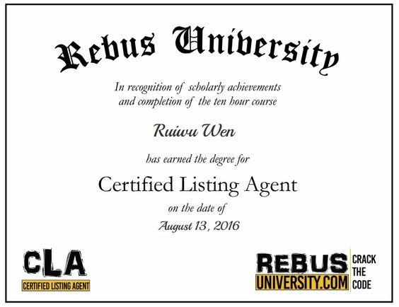 Ruiwu Wen is newest Rebus University  graduate! Congratulations! #Rebus #University #rebusuniversity #CLA #certifiedlistingagent #graduate #Ruiwu #Wen #ruiwuwen