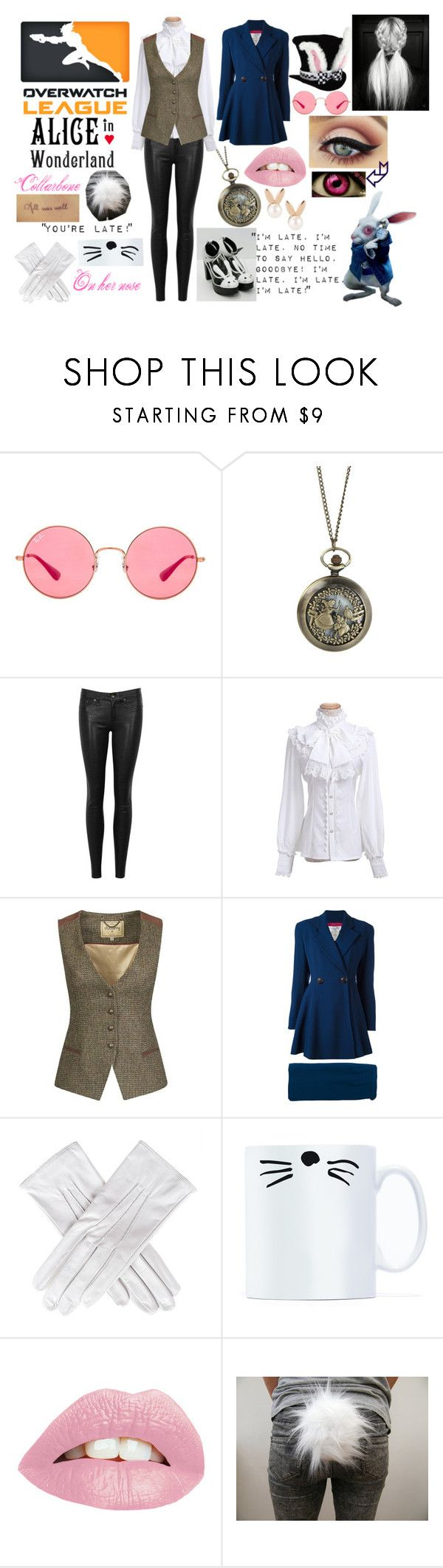 """Overwatch - White Rabbit"" by thecaptain101 ❤ liked on Polyvore featuring Ray-Ban, Disney, rag & bone/JEAN, DUBARRY, Christian Dior, Black and Aamaya by Priyanka"