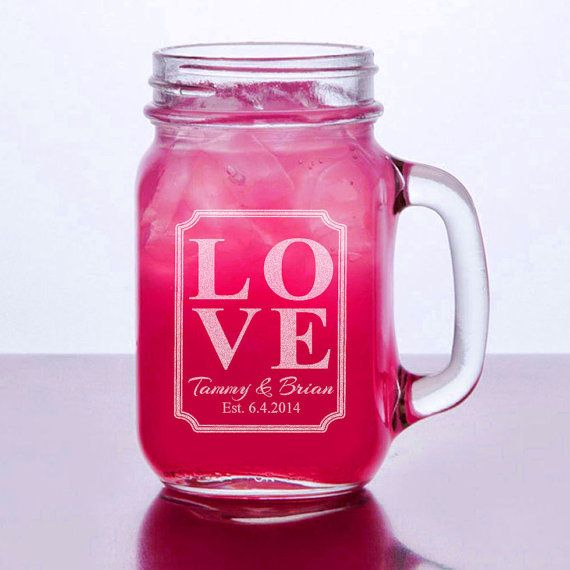 Barn Wedding Favor Love Personalized Mason Jar Mugs Rustic Weddding Favor Decor Handle Mug Drinking Glasses Bulk Wholesale Discount