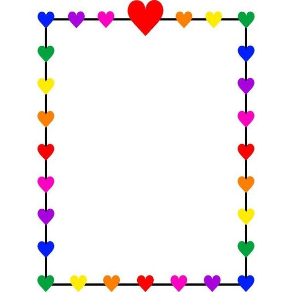 Rainbow Hearts Border Frame Free Clip Art ❤ liked on Polyvore featuring home, home decor, heart shaped frame, colorful home decor, heart-shaped frame, heart frame and heart home decor