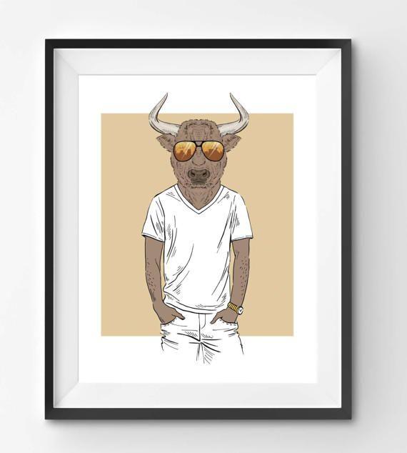 Bull with Sunglasses Animal Print Fashion Animal Bull