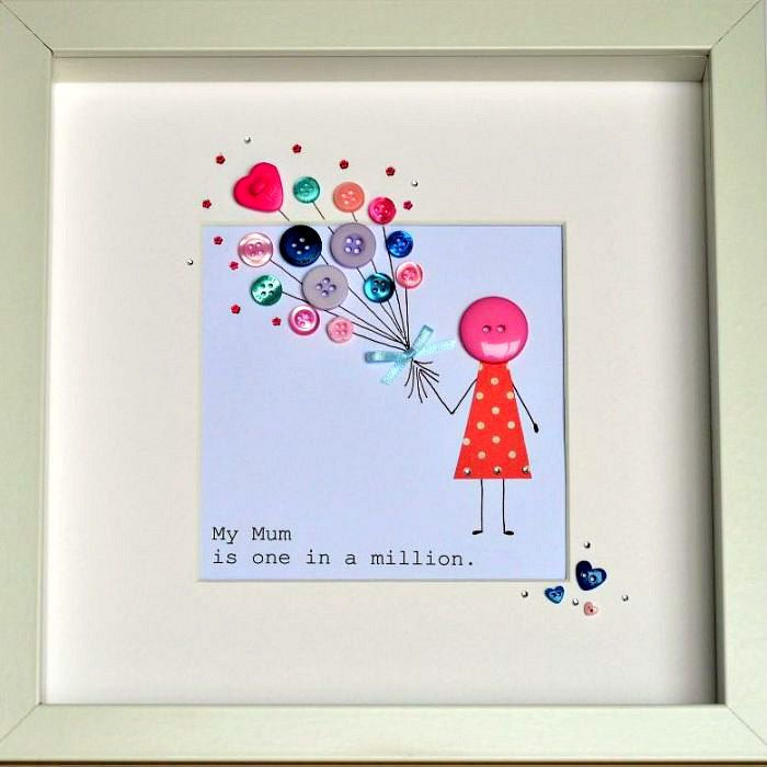 "Personalised Button & Balloon Mum Framed Artwork | GiftWrappedandGorgeous.co.uk A cute framed piece of art featuring ballons created from pretty buttons with the wording ""My Mum is one in a million"", a gorgeous Mothers Day gift for your Mum. £40.00"