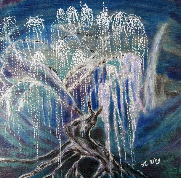 """Tree of Souls © painted by Rene Ury I loved the new movie """"Avatar,"""" especially the dream-like world created (in 3-D!) by James Cameron and his special effects artists. This is my interpretation of the """"Tree of Souls,"""" a sacred tree that plays an important role in the film."""