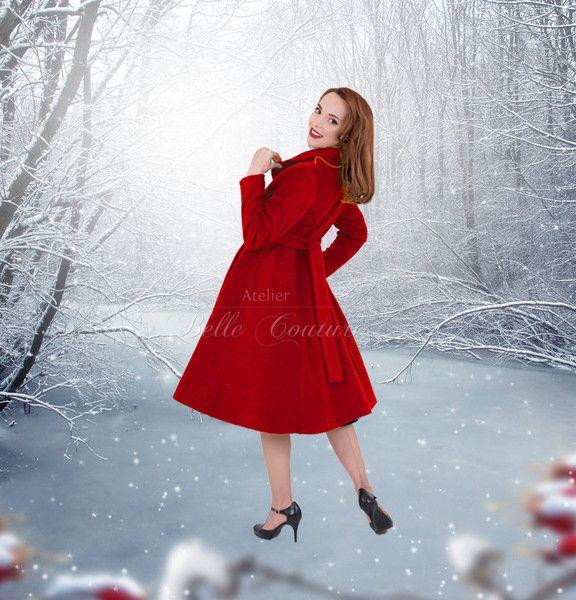 """Manteau vintage rouge, Mantel """"Tiffany"""" im 50er Jahre Stil #atelierbellecouture"""
