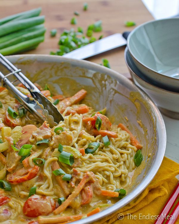 Noodles in a Creamy Coconut Peanut Sauce {vegan and gluten free}.