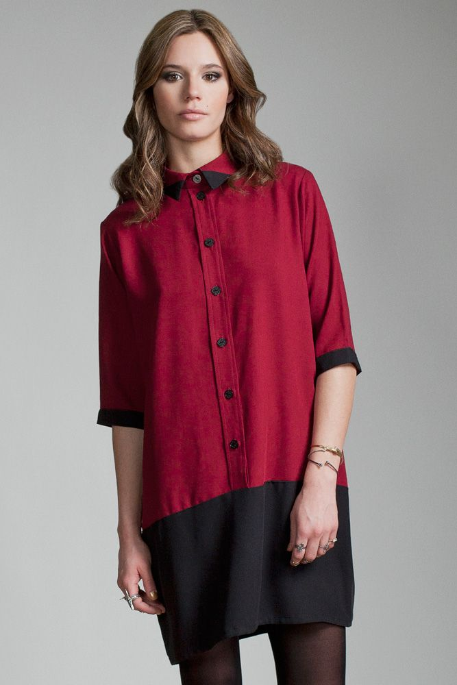 Sirius Dress by Jennifer Glasgow.  Relaxed fit shirt dress with contrast detailing along hem.