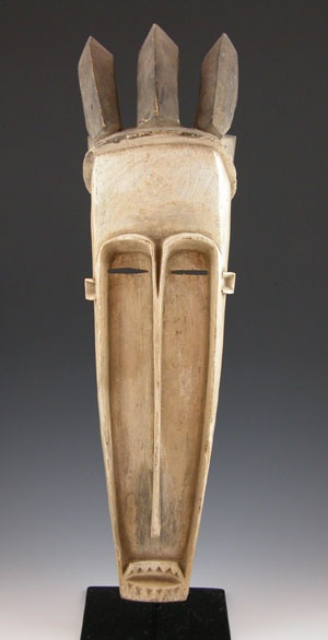 Africa | Mask from the Fang people of Gabon. Traditionally these types of masks were worn by the Ngil society to ensure the adherence of the community to the law and social order.