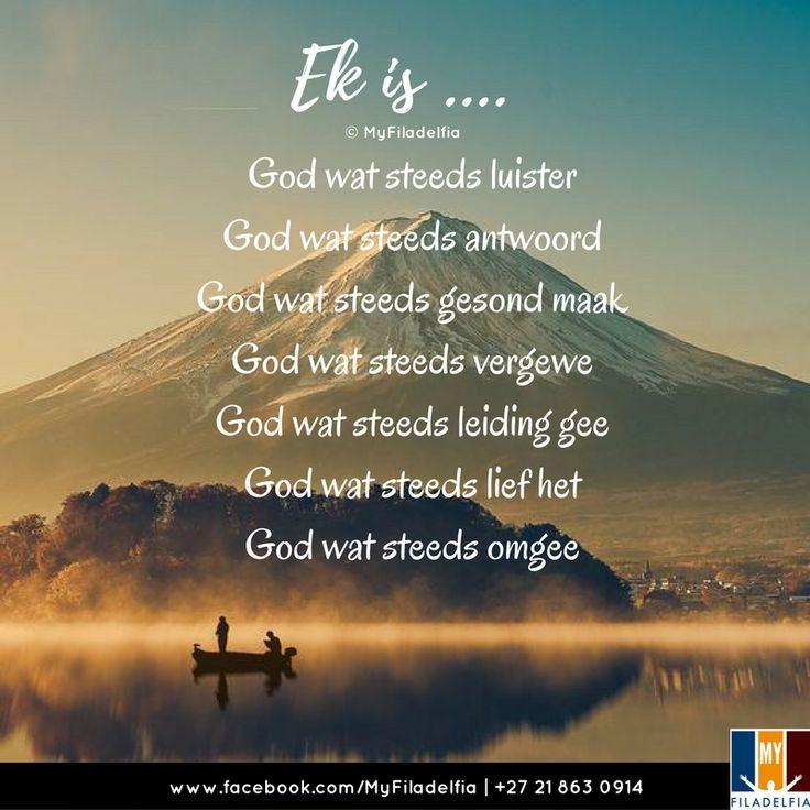 Ek is .... God wat steeds luister God wat steeds antwoord God wat steeds gesond maak God wat steeds vergewe God wat steeds leiding gee God wat steeds lief het God wat steeds omgee Ek is wat Ek is .... en dit is liefde