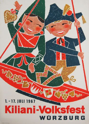 Kiliani Volksfest Wurzburg original advertising lithography vintage poster by…