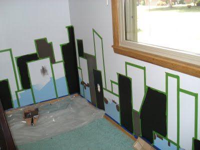 My son's superhero room:  Cityscape Mural - Step 2