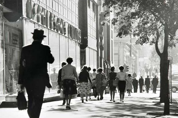 Collins Street at MacPherson's Building. Melbourne, Australia 1963.  Photograph by Mark Strizic.