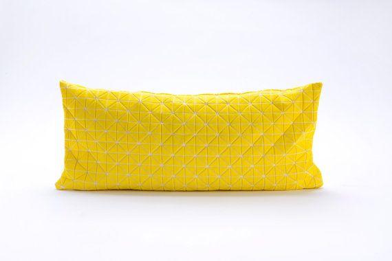 Yellow origami decorative pillow cover 30X60 cm door mikabarr, $54.00