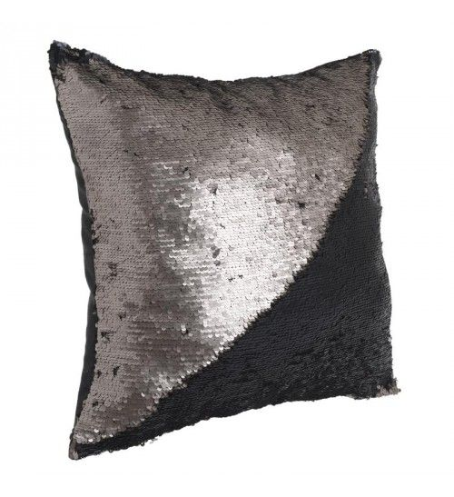 FABRIC PILLOW W_BEADS DOUBLE IN COPPER_BLACK 45X45