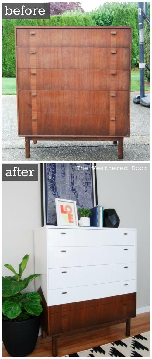 Simple yet unusual mid-century dresser upgrade.