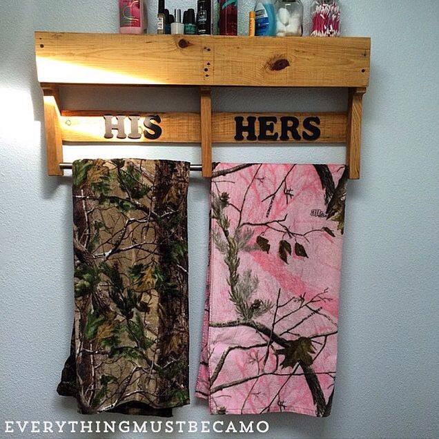 His and her's camo towels for the perfect country bathroom!
