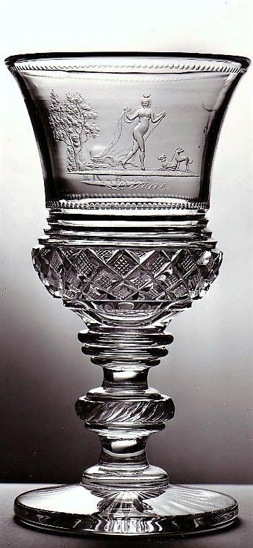 Anton Simm -- okruh , pohár datace: kolem 1830 rozměry: celková výška/délka 14,8 cm průměr/ráže 7,3 cm průměr/ráže 8 cm výtvarný druh: sklo námět: Mytologie materiál: sklo technika: řezání