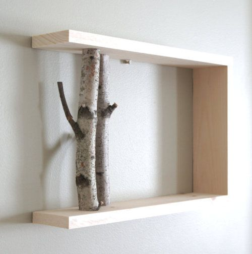 shelving: Birches Woods, Birches Forests, Wall Shelves, White Birches, Woods Shelves, Display Shelves, Birches Branches, Woods Wall, Diy Projects