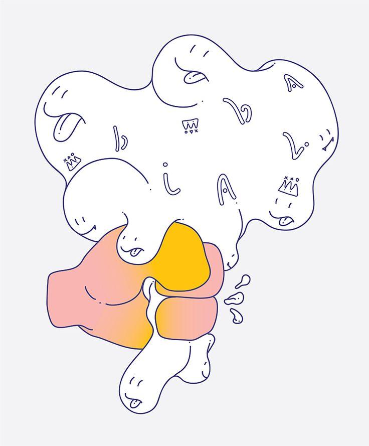 blabla C : grab a cloud / Drawing about 'chatter'. / digital work / 2015 by nunu