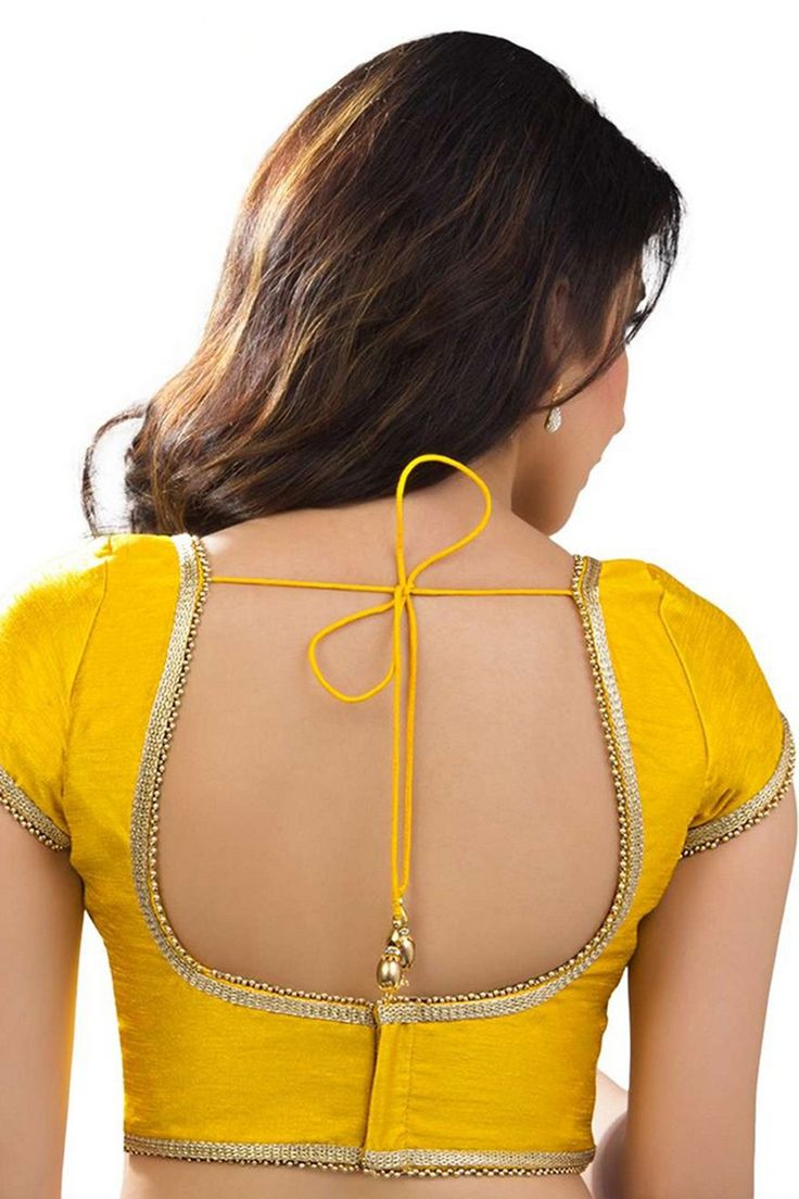 #Yellow designer raw #silk wonderful #blouse with back deep u neck -BL756